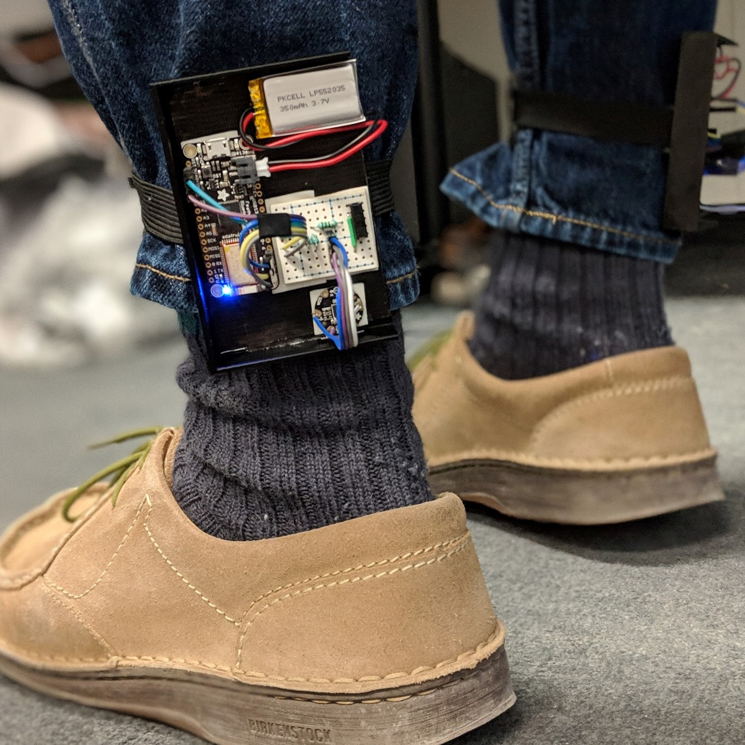 The VR-Bounce assembly strapped to an ankle.